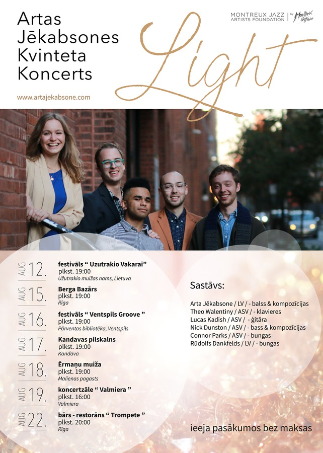 "Artas Jēkabsones kvinteta koncerts ""Light"""