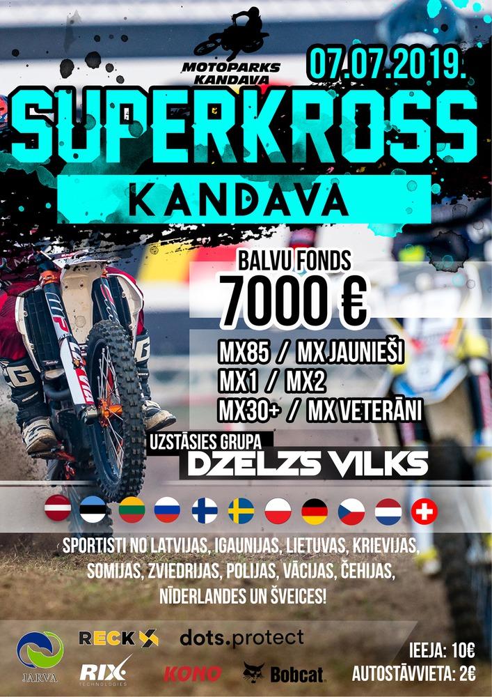 """Starptautiskas sacensības motokrosā """"MPK SUPERCROSS"""" Kandavas mototrasē"""