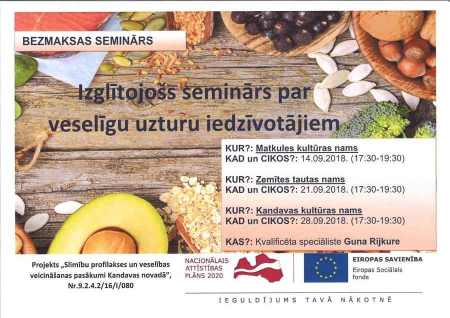 Izglītojošs seminārs par veselīgu uzturu iedzīvotājiem