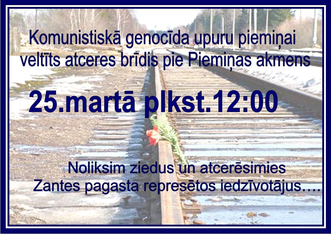 Komunistiskā genocīda upuru piemiņai veltīts atceres brīdis Zantē