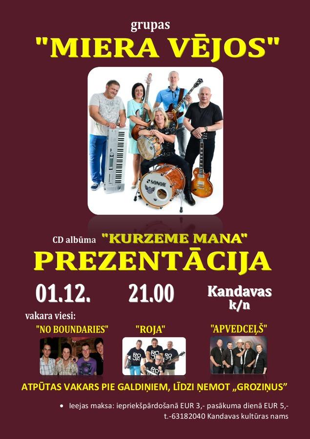 """Grupas """"MIERA VĒJOS"""" CD albūma prezentācija"""