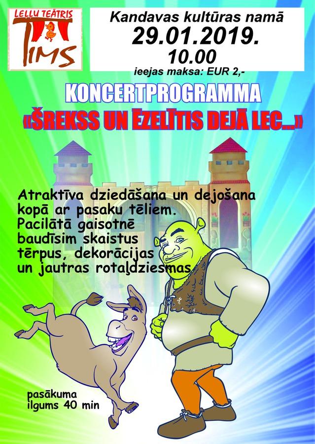 """Leļļu teātra TIMS  koncertprogramma """"Šreks un Ēzelītis dejā lec"""""""