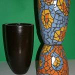 Keramikas vāžu komplekts- mozaīkas tehnika.