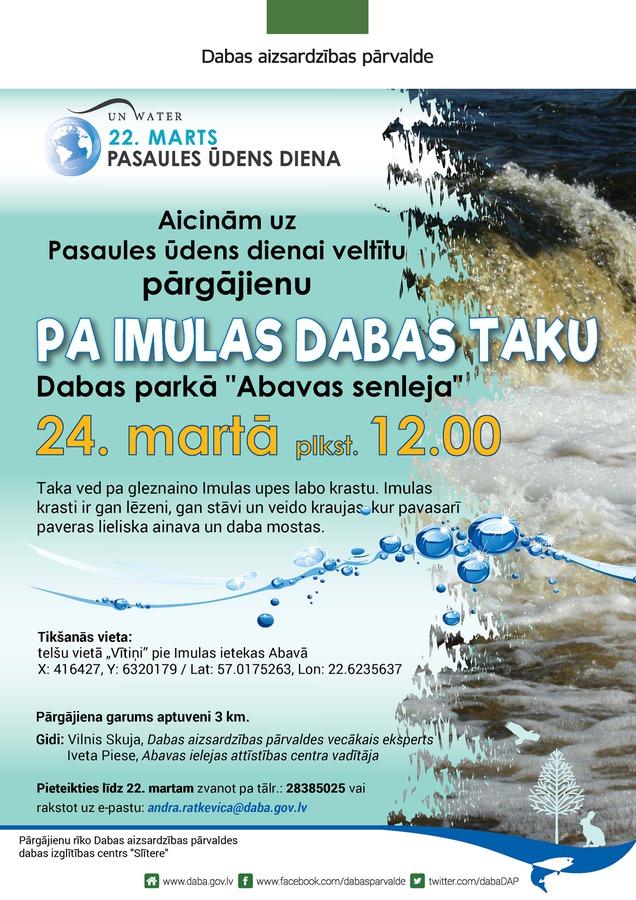 Pasaules ūdens dienai veltīts pārgājiens pa Imulas upes dabas taku